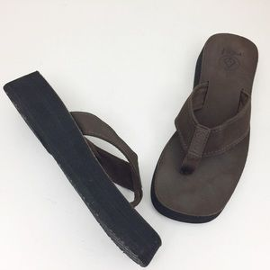 REEF Brown Squared Off Platform Flip Flops